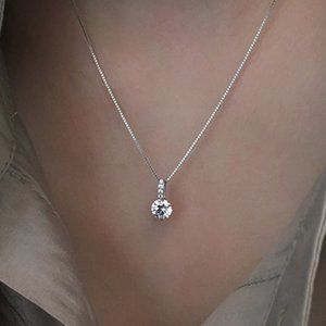 *925 Silver 2CT Solitaire Diamond Necklace A1